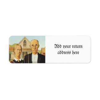 American Gothic by Grant Wood,reproduction art,vin Return Address Label