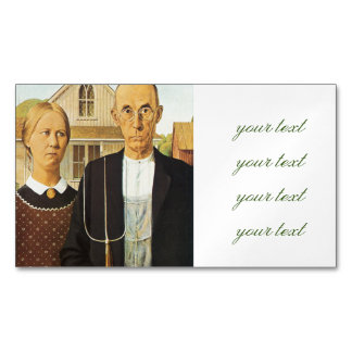 American Gothic by Grant Wood,reproduction art,vin Magnetic Business Cards