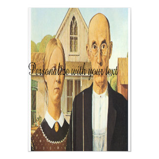 American Gothic by Grant Wood,reproduction art,vin Magnetic Invitations