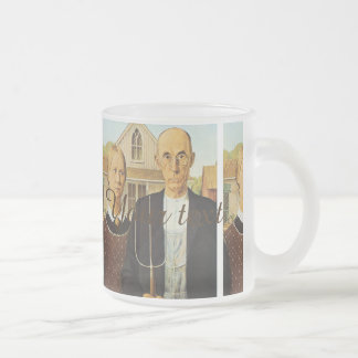 American Gothic by Grant Wood,reproduction art,vin Frosted Glass Mug