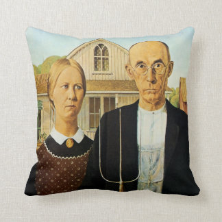 """American Gothic"" Fine Art Throw Pillow"
