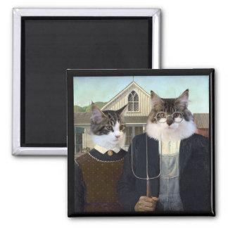 American Gothic funny cat kitten magnet