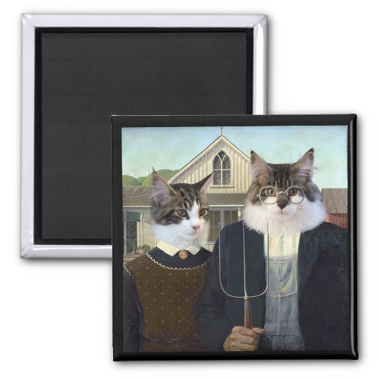 American Gothic funny cat kitten magnet