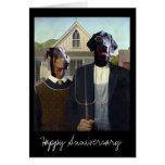 American Gothic funny Doberman dog anniversary