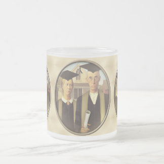 American Gothic Graduation Cameo on Gold Sheen 10 Oz Frosted Glass Coffee Mug