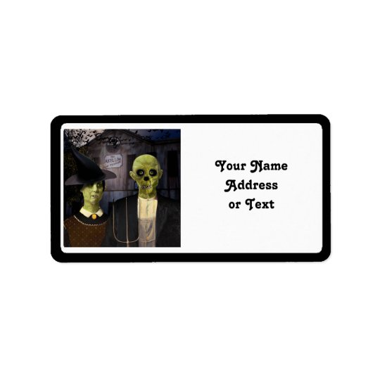 American Gothic Halloween Address Label