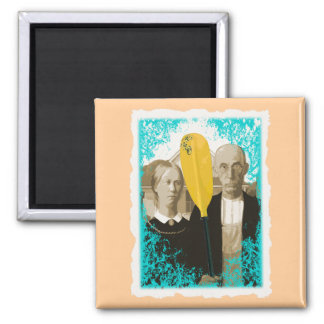 AMERICAN GOTHIC KAYAKERS SQUARE MAGNET