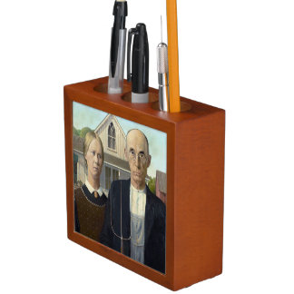 American Gothic Painting by Grant Wood Desk Organizers