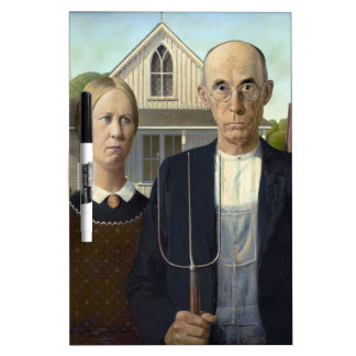 American Gothic Painting by Grant Wood Dry Erase White Board
