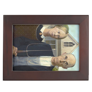 American Gothic Painting by Grant Wood Memory Boxes
