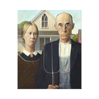 American Gothic Painting by Grant Wood on Canvas Canvas Prints