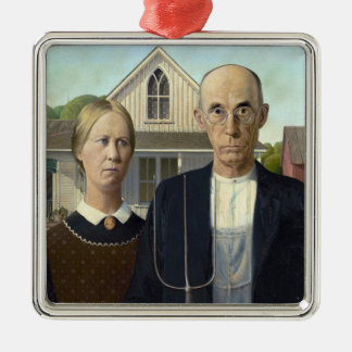 American Gothic Painting by Grant Wood Silver-Colored Square Decoration