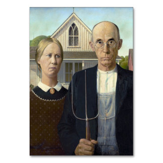 American Gothic Painting by Grant Wood Table Cards