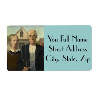 American Gothic Painting Shipping Label