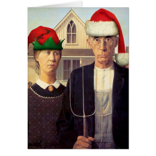 American Gothic Santas Greeting Card