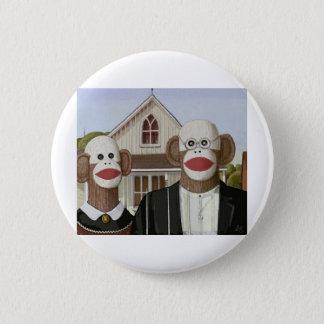 American Gothic Sock Monkeys 6 Cm Round Badge