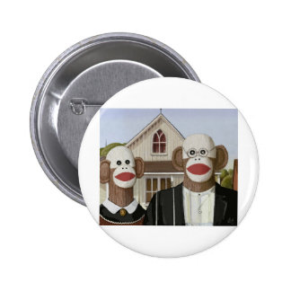 American Gothic Sock Monkeys 6 Cm Round Badge