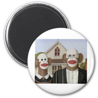 American Gothic Sock Monkeys 6 Cm Round Magnet