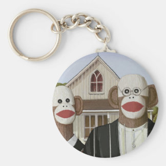 American Gothic Sock Monkeys Basic Round Button Key Ring