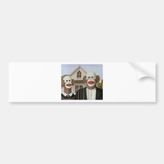 American Gothic Sock Monkeys Car Bumper Sticker