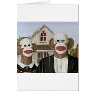 American Gothic Sock Monkeys Card