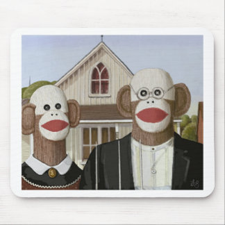 American Gothic Sock Monkeys Mousepads