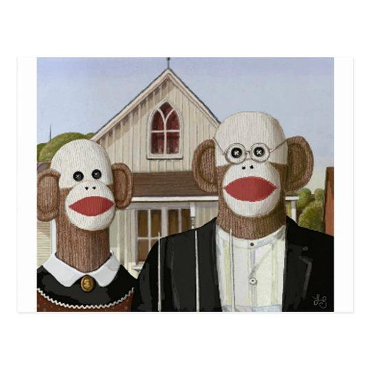 American Gothic Sock Monkeys Postcard