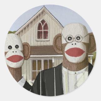 American Gothic Sock Monkeys Round Sticker