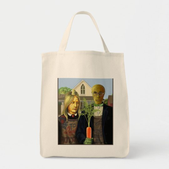 American Gothic Veggie Couple Shopping Bag