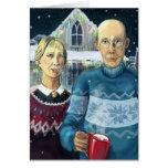 American gothic - winter parody greeting card