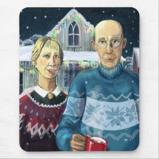 American gothic - winter parody mouse pad