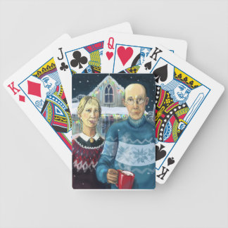 American gothic - winter parody bicycle poker cards