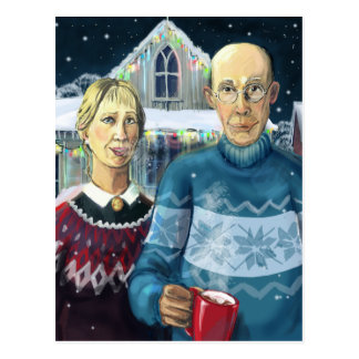American gothic - winter parody post card