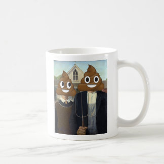 American Gothic with Happy Poop Coffee Mug