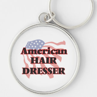 American Hair Dresser Silver-Colored Round Key Ring