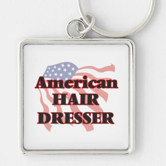 American Hair Dresser Silver-Colored Square Key Ring