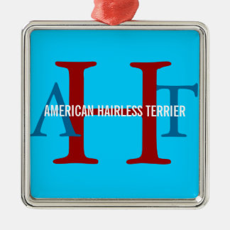 American Hairless Terrier Monogram Silver-Colored Square Decoration