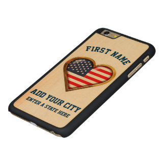 American Heart Customized With Any City And State Carved Maple iPhone 6 Plus Case