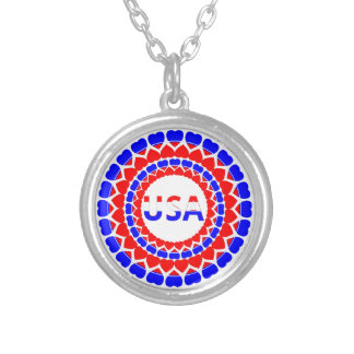 American Heart Print - USA Red White Blue Silver Plated Necklace