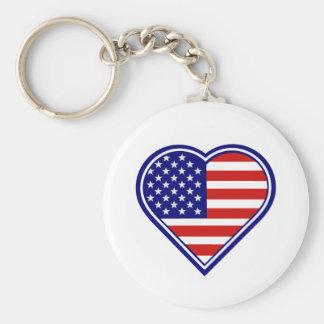American Heart Shape USA Flag Key Chain
