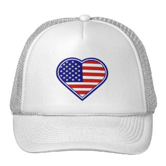 American Heart Shape USA Flag Mesh Hat
