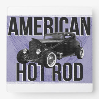 American Hot Rod. Blue version wall clock