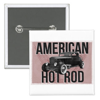 American Hot Rod - red version 15 Cm Square Badge