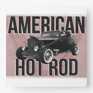 American Hot Rod. Red version wall clock
