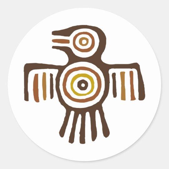 American Indian Bird Round Sticker