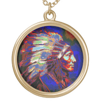 American Indian Chief Graphic Pendant