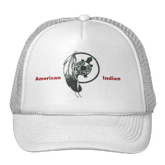 American Indian Feather and Turtle Cap Mesh Hat