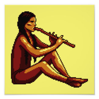 American Indian Flute Player Pixel Photo Art