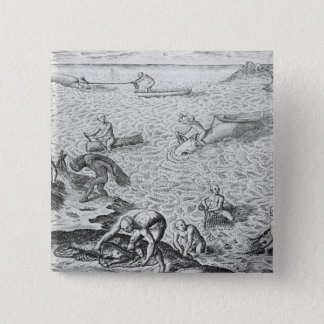 American Indian method of whaling, from an account 15 Cm Square Badge