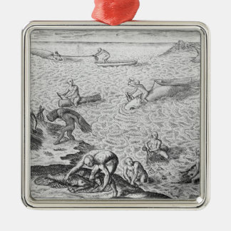 American Indian method of whaling, from an account Christmas Ornament